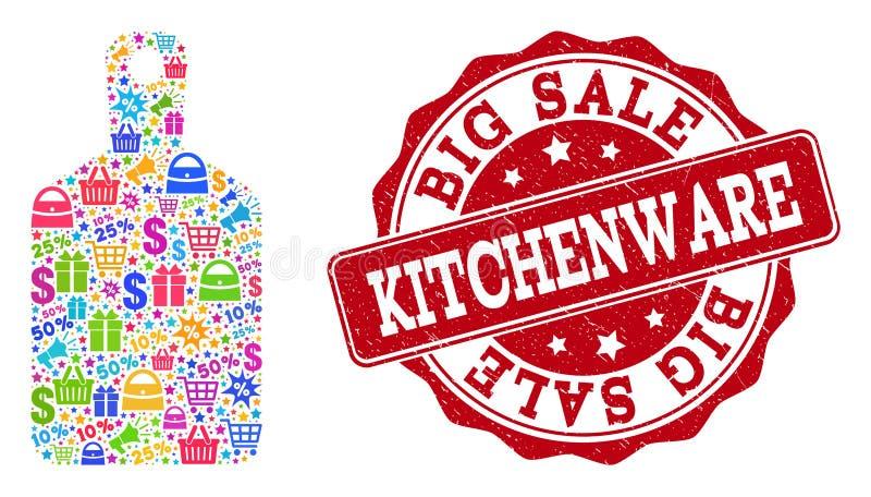 Kitchenwaresammansättning av mosaiken och nödlägestämpeln för försäljningar stock illustrationer