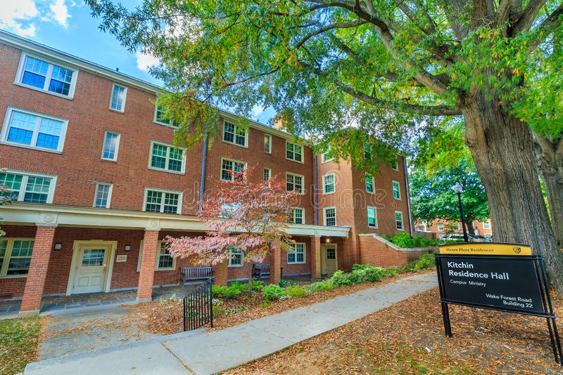Kitchin Residence Hall at Wake Forest University. WINSTON-SALEM, NC, USA: Kitchin Residence Hall on October 26, 2019 at Wake Forest University in Winston-Salem stock photos