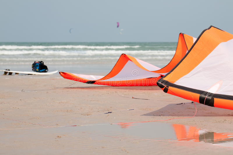 Kite. And Board On The Beach royalty free stock image