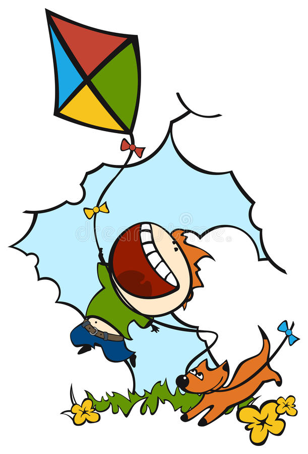 Download Kite stock vector. Illustration of jumping, holding, cheerful - 19354880