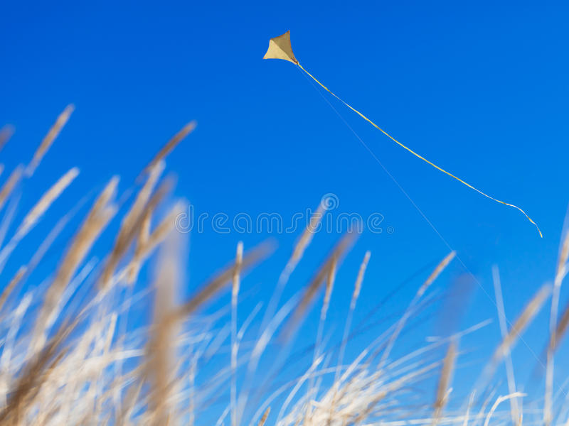 Kite. A yellow flying kite on a clear blue sky with dry grass in the foreground royalty free stock photos