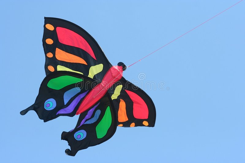 Kite. A butterfly shaped kite stock photos