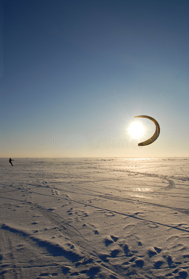Kite. Winter kite surfing on ice stock images
