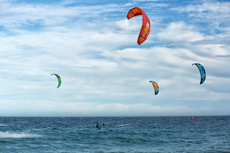 Kite boarders on the sea royalty free stock photo