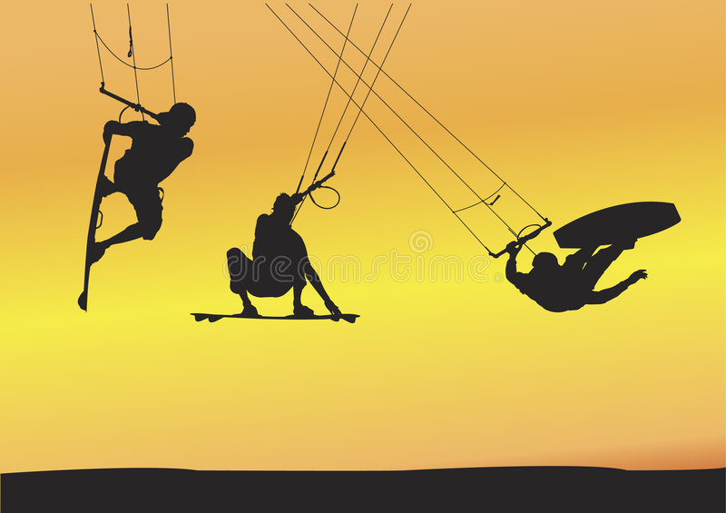 Kite boarding Ariel jumps. Selection of kite boarding Ariel jump silhouettes, individually grouped and fully editable illustrations with sunset background vector illustration