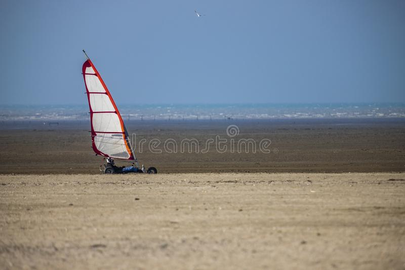 Kite Buggy on the beach stock images