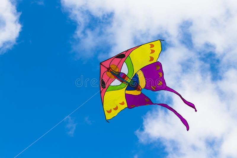 Kite butterfly on blue sky and clouds background royalty free stock photos