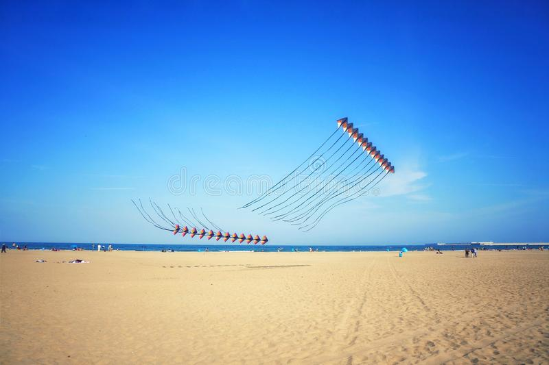 Kite contest in Valencia stock images