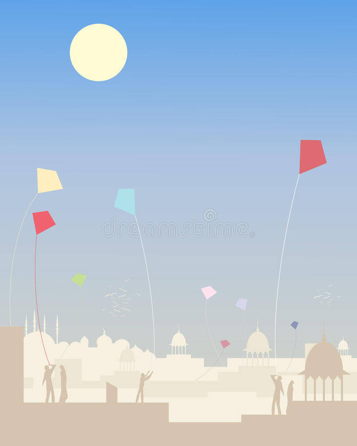 Kite festival. An illustration of an indian kite festival under a blue sky with dusty skyline vector illustration