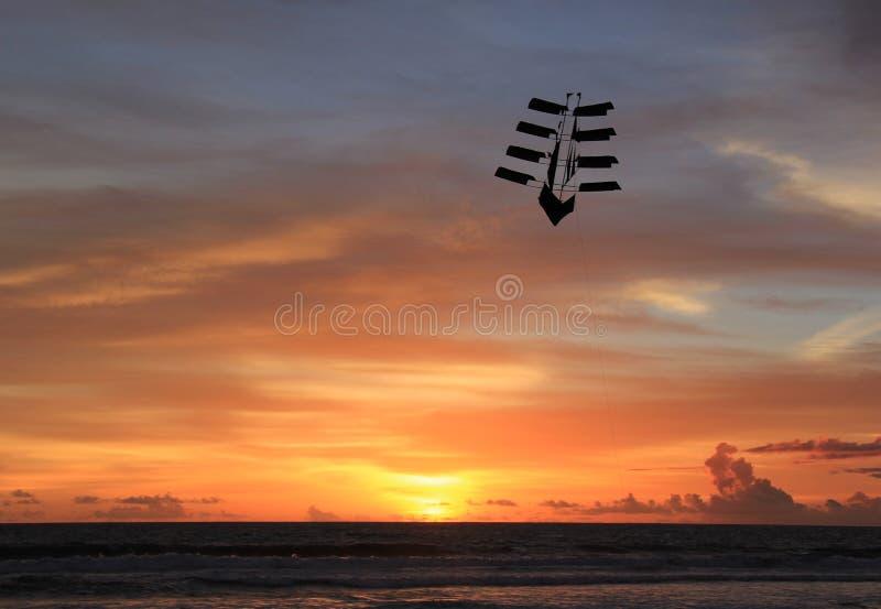 Kite Flies at Sunset royalty free stock images