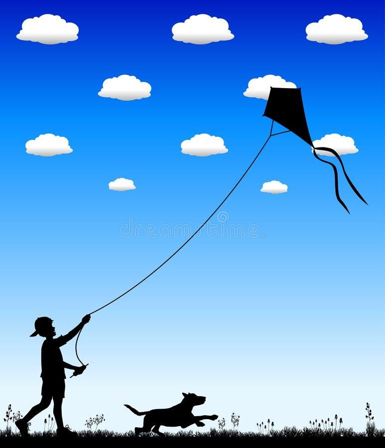 Kite_flying_02 stock illustratie