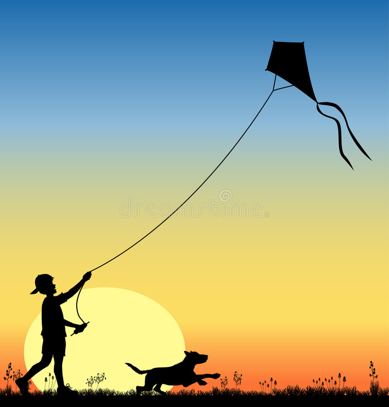 Kite_flying_03 stock de ilustración