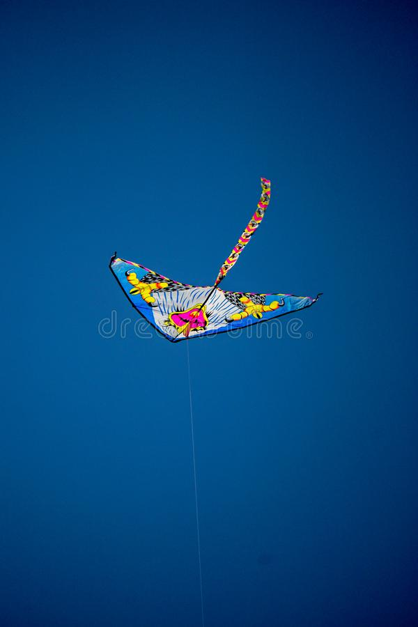 Kite flying in the blue sky royalty free stock photography