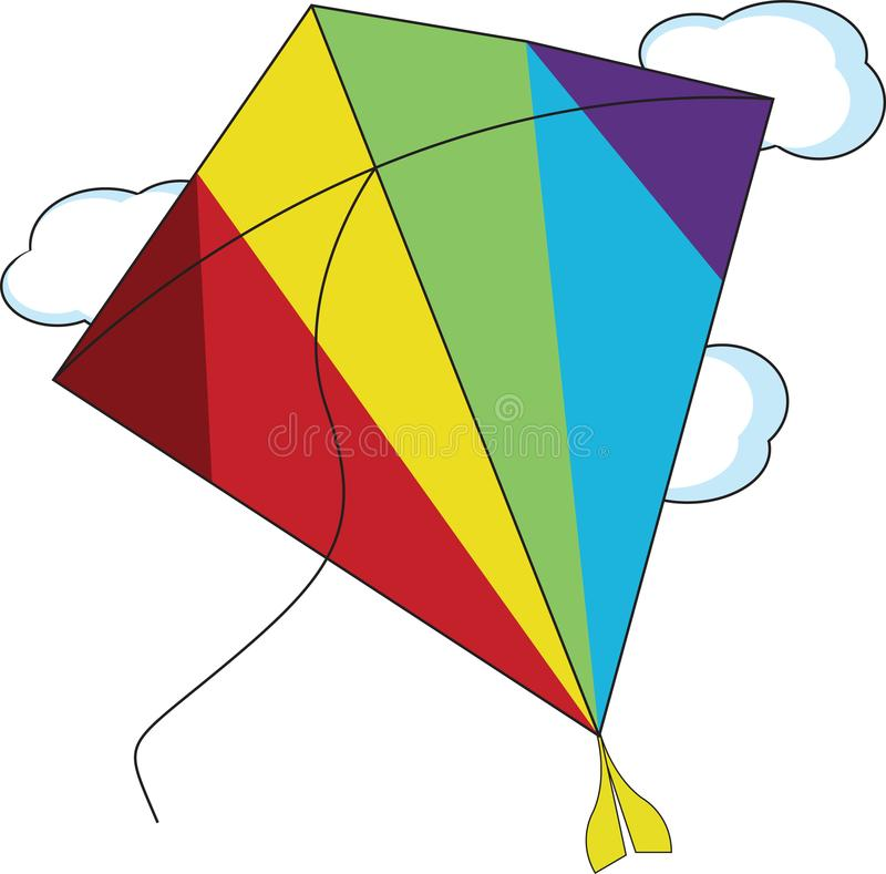 Kite Flying isolated, holiday, in the sky for children and kids flying in the air illustration royalty free stock image