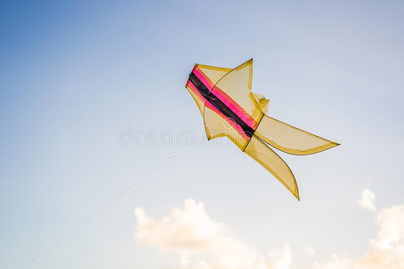 Kite flying in the sky among the clouds.  royalty free stock photo