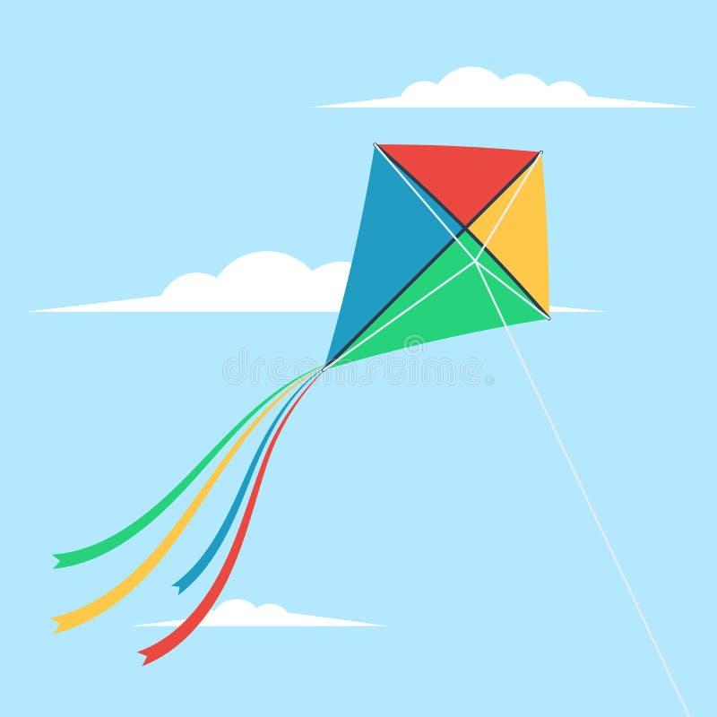 Kite flying in the sky stock illustration