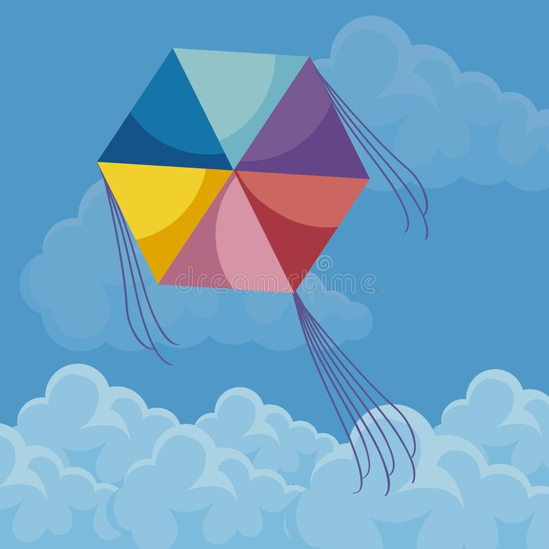 Kite flying in the sky royalty free illustration