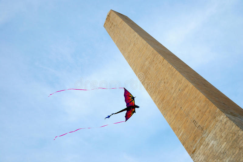 Kite and George Washington Monument, Washington DC royalty free stock images