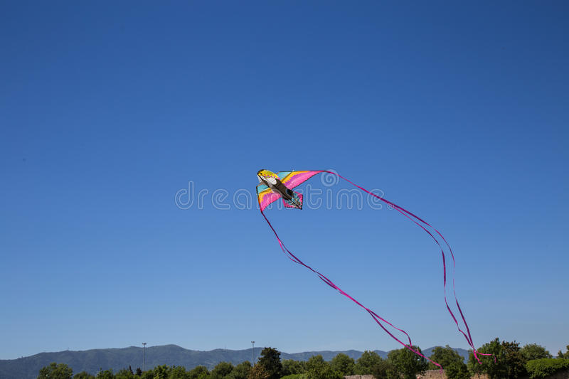 Kite. Hit from the Sun on a background of blue sky royalty free stock photos
