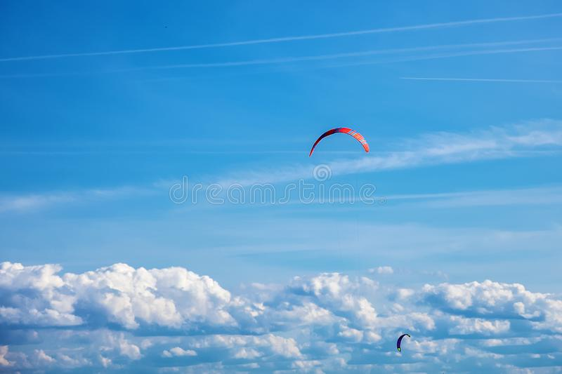The kite rose above the clouds stock images