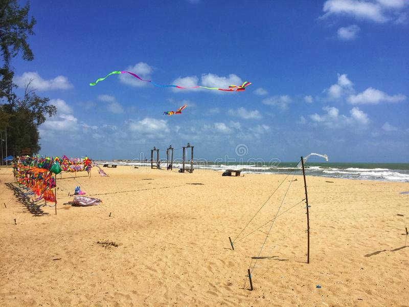 Kite At Seaside. A view of Batu Buruk Beach, Terengganu. There was a seller sell various of kite stock images
