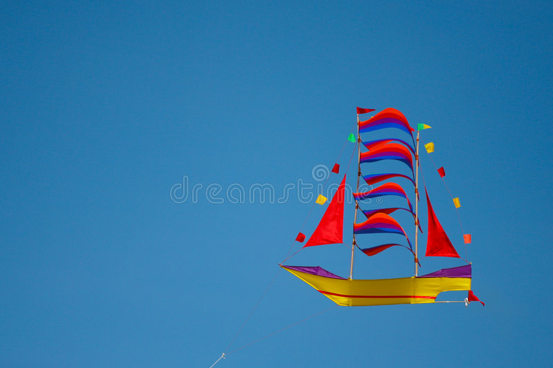 Kite in the shape of boat stock photo