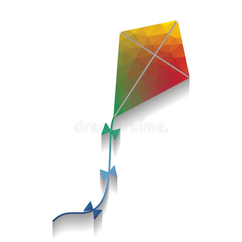 Kite sign. Vector. Colorful icon with bright texture of mosaic w stock illustration