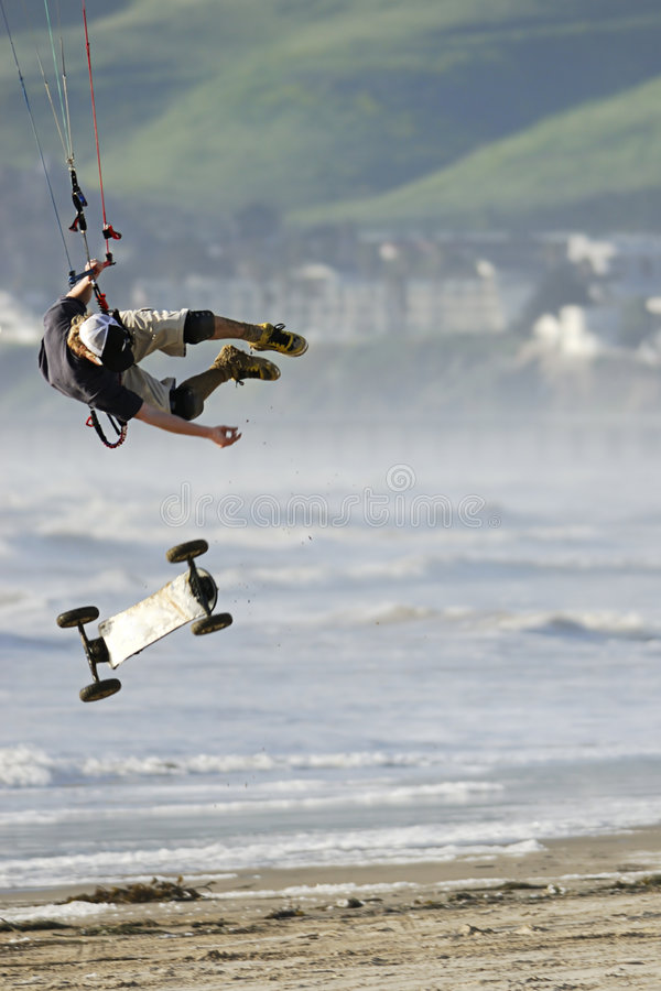 Kite Skateboarder Catching Air stock images