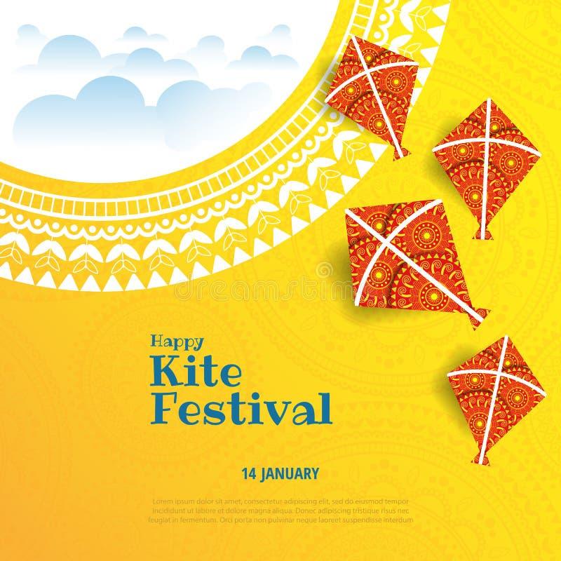 Kite string festival. Vector illustration on the theme of kite string festival of India vector illustration