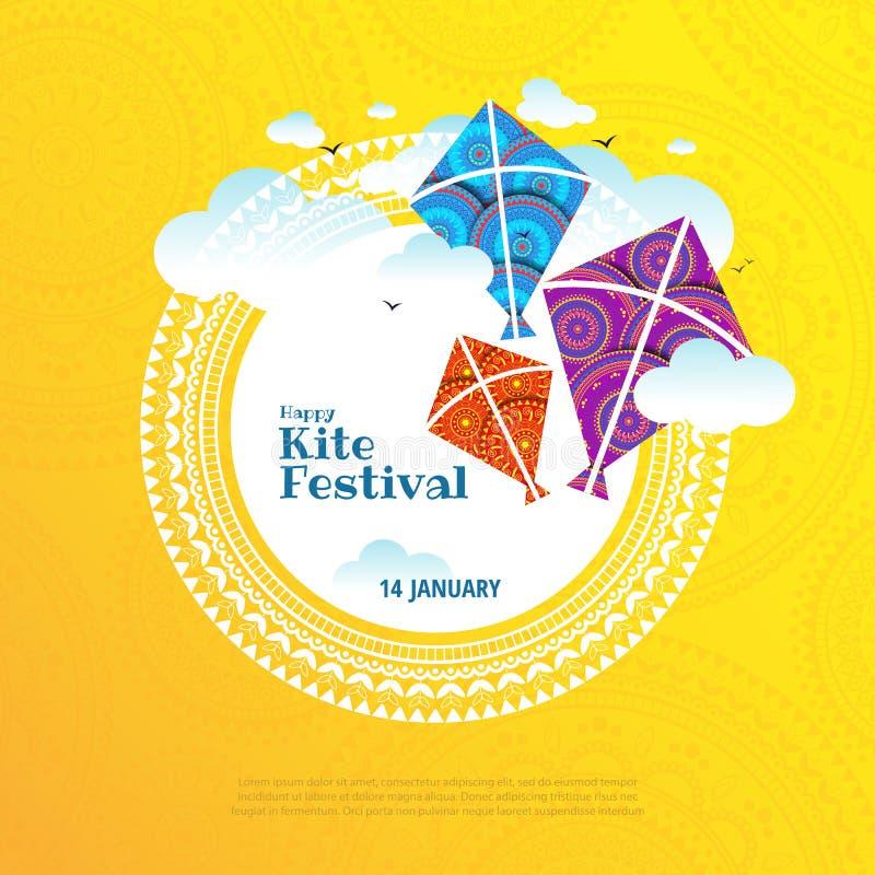 Kite string festival. Vector illustration on the theme of kite string festival of India stock illustration