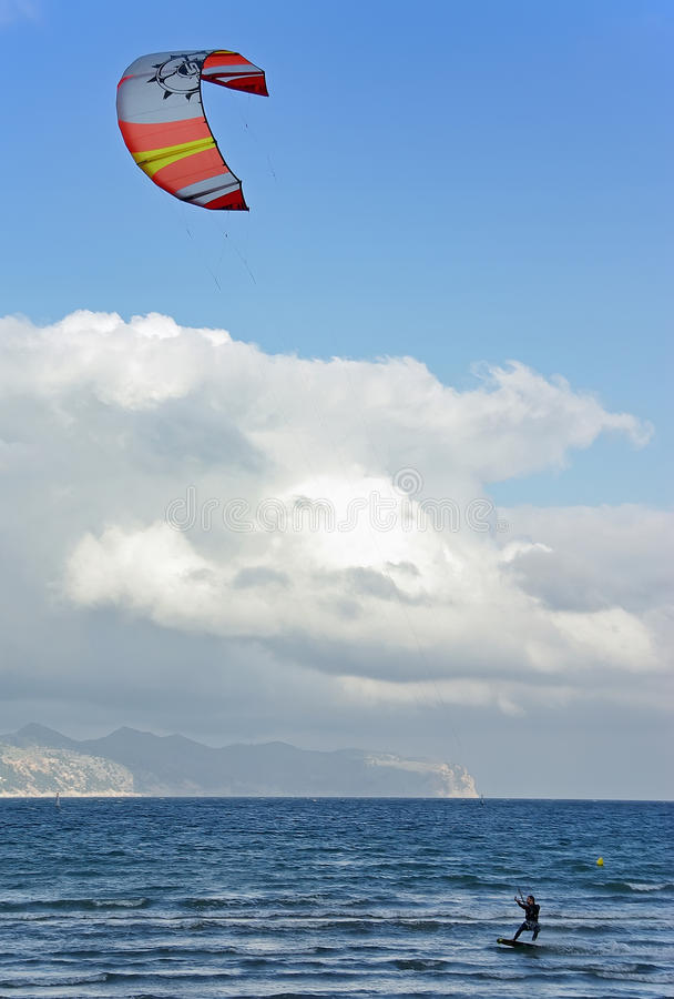 Kite surf. In Majorca (Balearic Islands - Spain stock photos