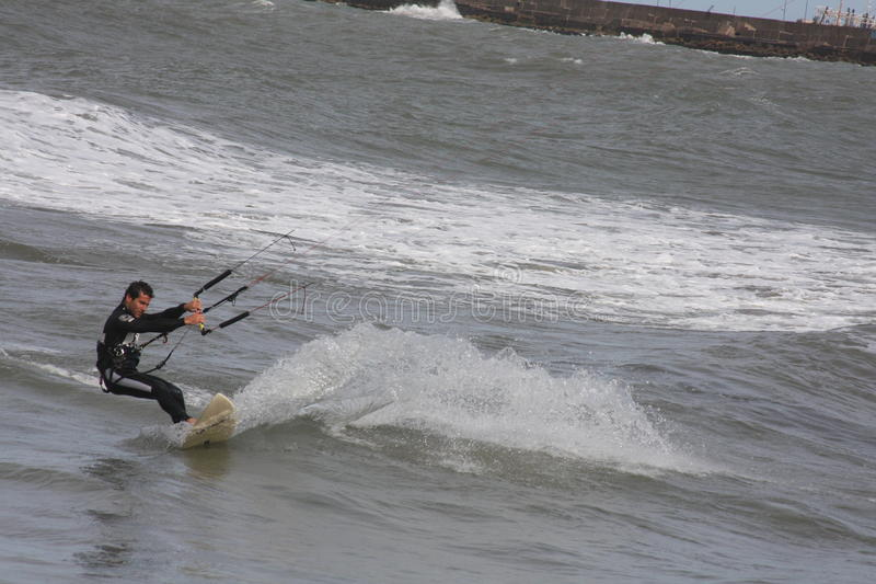 Kite Surf 6. A man doing kite surf on Mar del Plata's beach stock photo