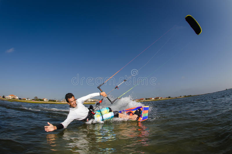 Kite Surfer. Kiteboarder enjoy surfing on a sunny day stock photography