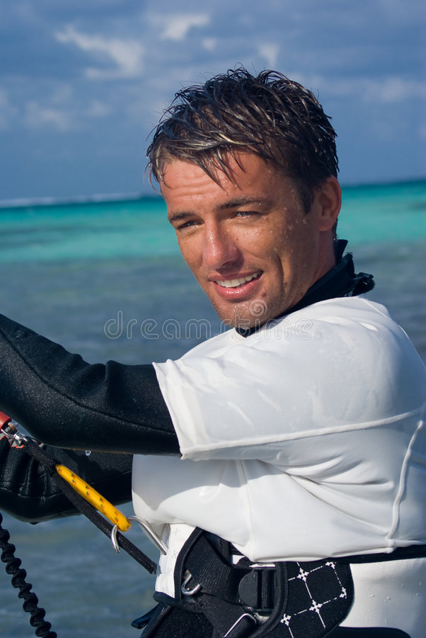 Kite Surfer. Male Kite surfer enjoying his sport in Grand Cayman stock image