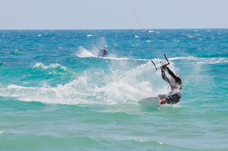 Download Kite-surfer in action stock image. Image of speed, jump - 4820231
