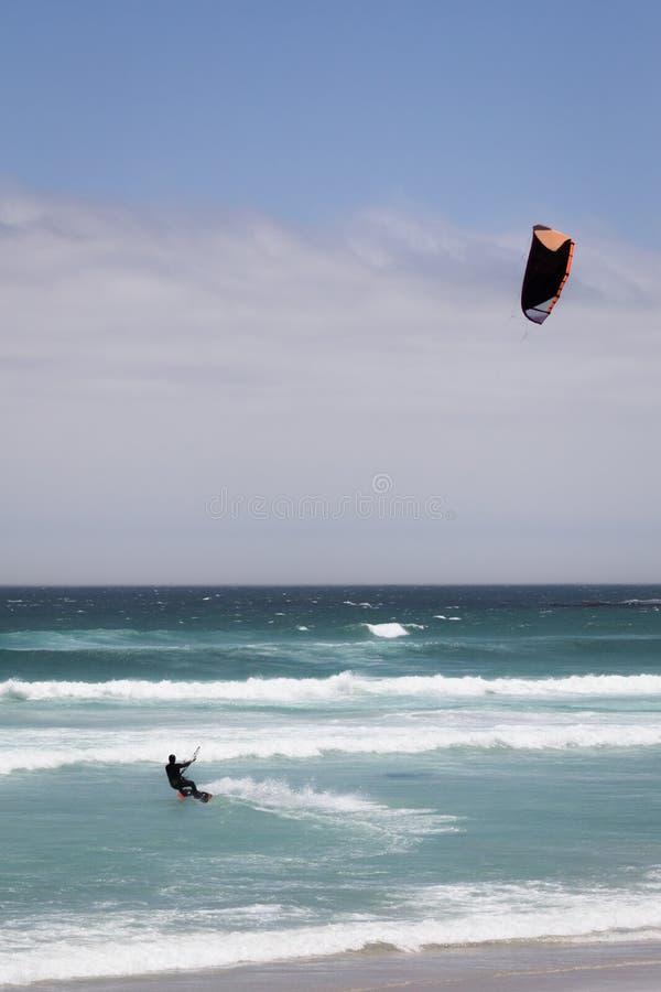 Kite surfer in Atlantic Ocean stock photos