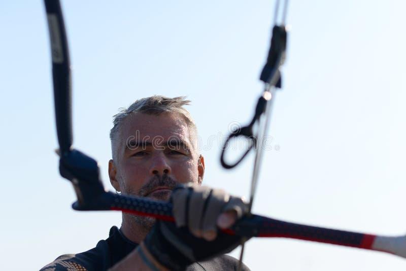 Kite surfing man practicing. stock images