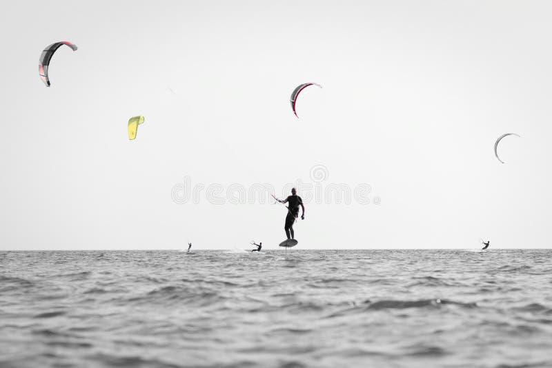 Kite surfing man practicing. royalty free stock image