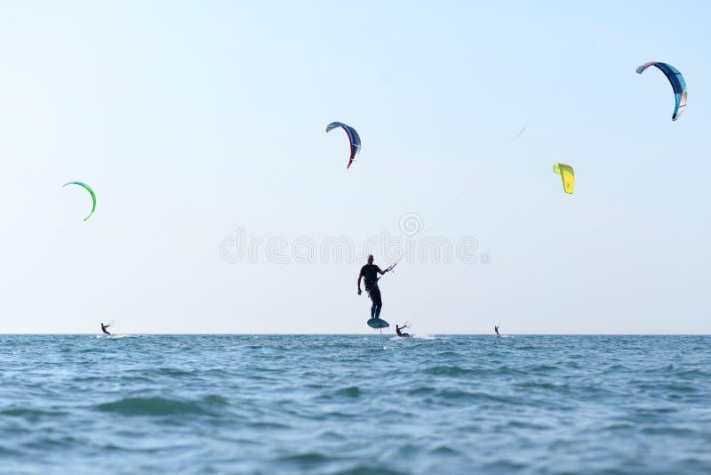 Kite surfing man practicing. stock image