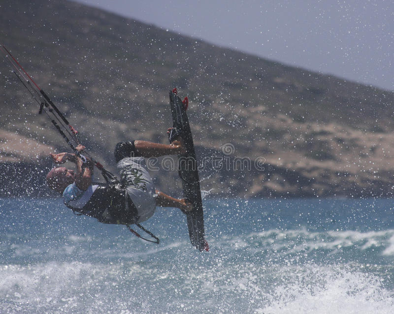 Kite surfer jumping royalty free stock images