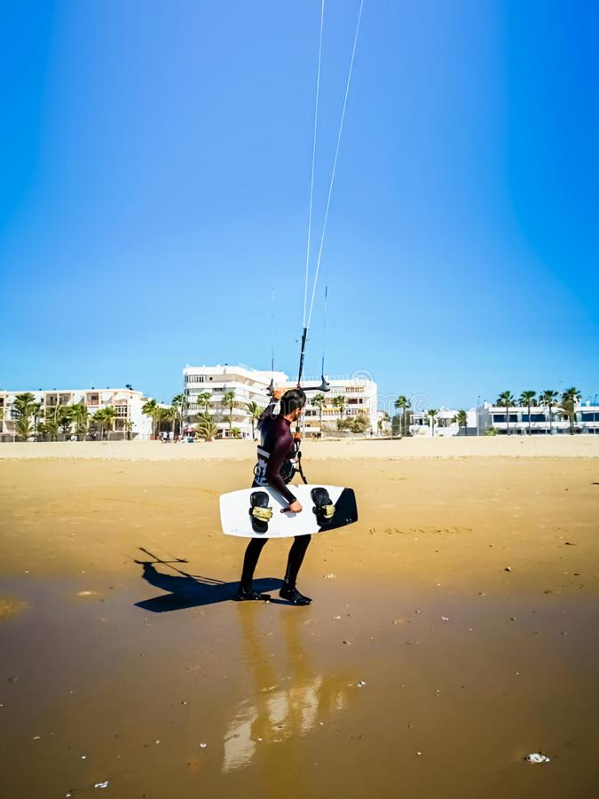 Kite surfer on the ocean beach. royalty free stock photography
