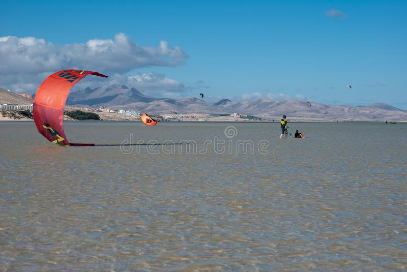 Fuerteventura, kite-surf at the lagoon royalty free stock photo