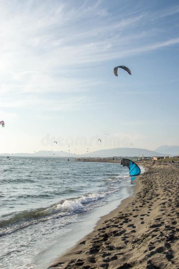 Kite surfers catch the waves on the windy Adriatic, Ulcinj, Montenegro. royalty free stock photography