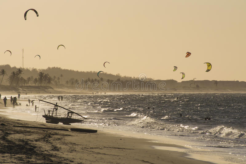 Kite surfers on the sea in Cumbuco Beach near Fortaleza, Brazil. royalty free stock photo