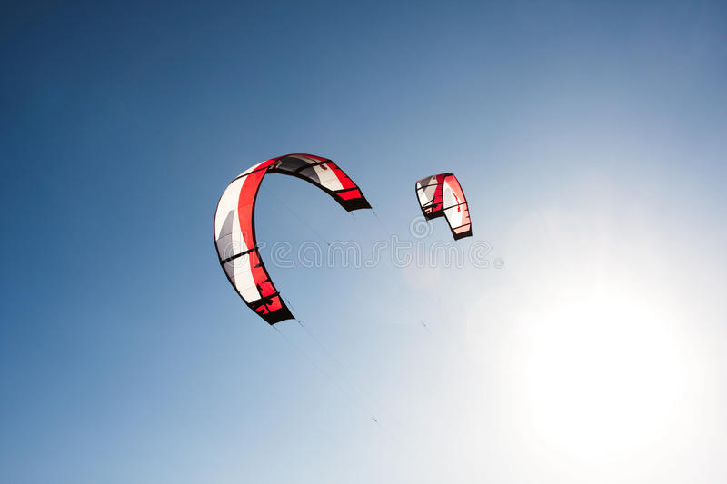 Kite surfing. Outdoor kite surfing on a sunny day stock photo
