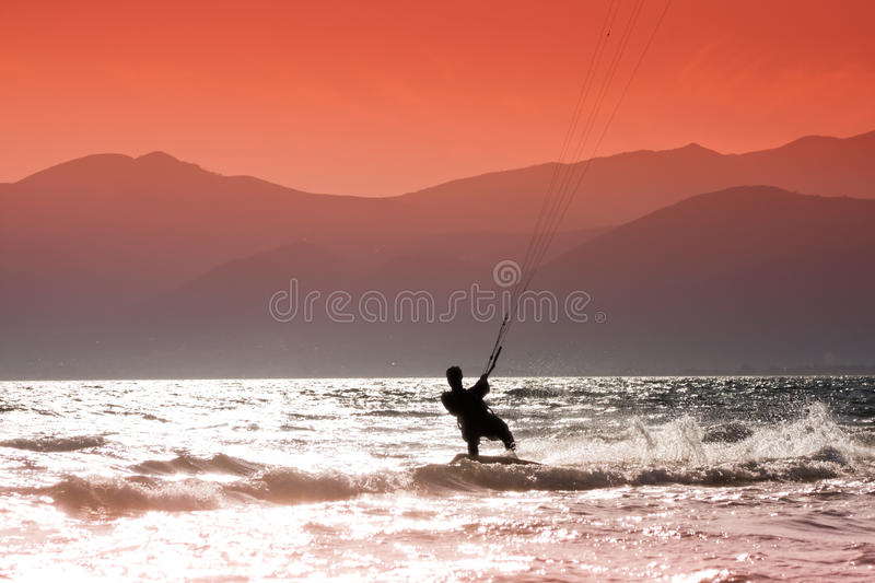 Kite surfing. Kite surfers at Skinias beach in Greece stock images