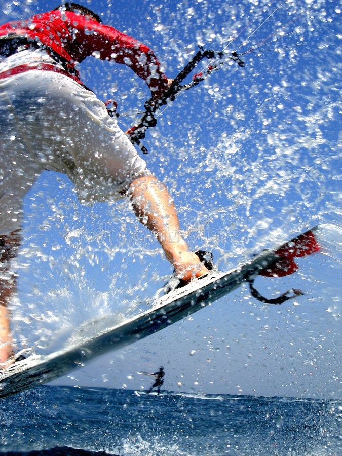Kite surfing. Exterme water photography royalty free stock photos