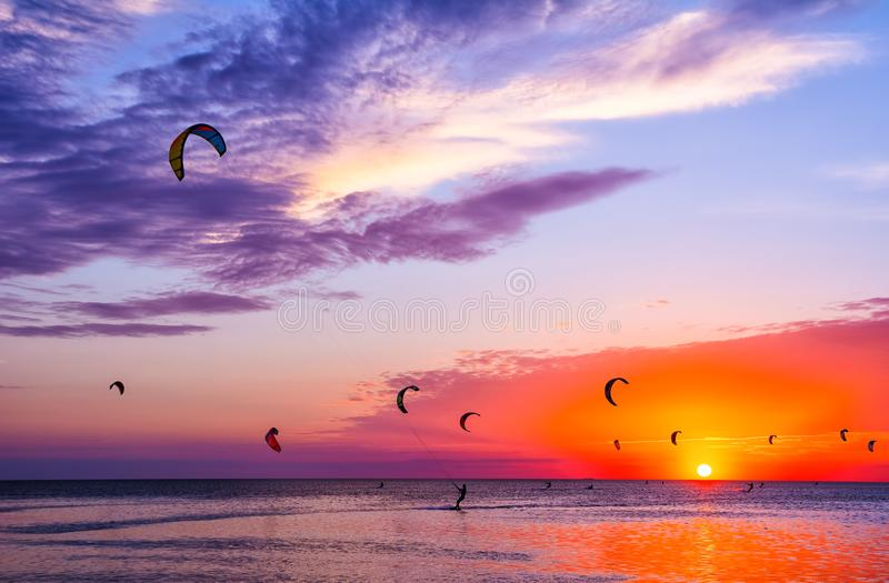 Kite-surfing against a beautiful sunset. Many silhouettes of kit royalty free stock image