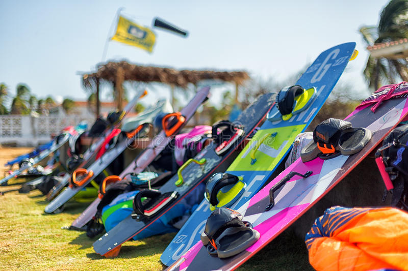 Kite surfing boards. Stacked by the beach royalty free stock image