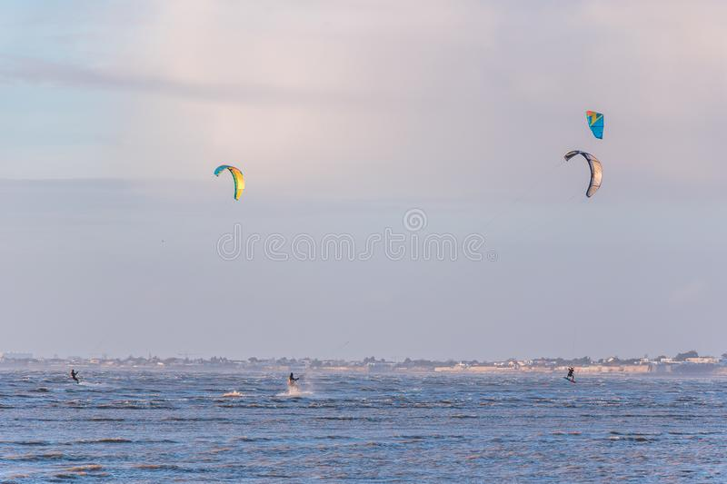 Kite-surfing in Chatelaillon Plage - France stock images